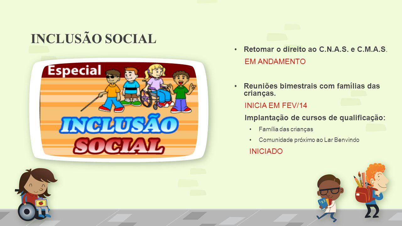 INCLUSÃO SOCIAL Retomar o direito ao C.N.A.S. e C.M.A.S. EM ANDAMENTO