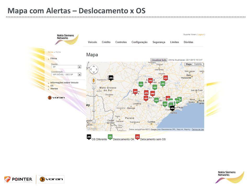 Mapa com Alertas – Deslocamento x OS