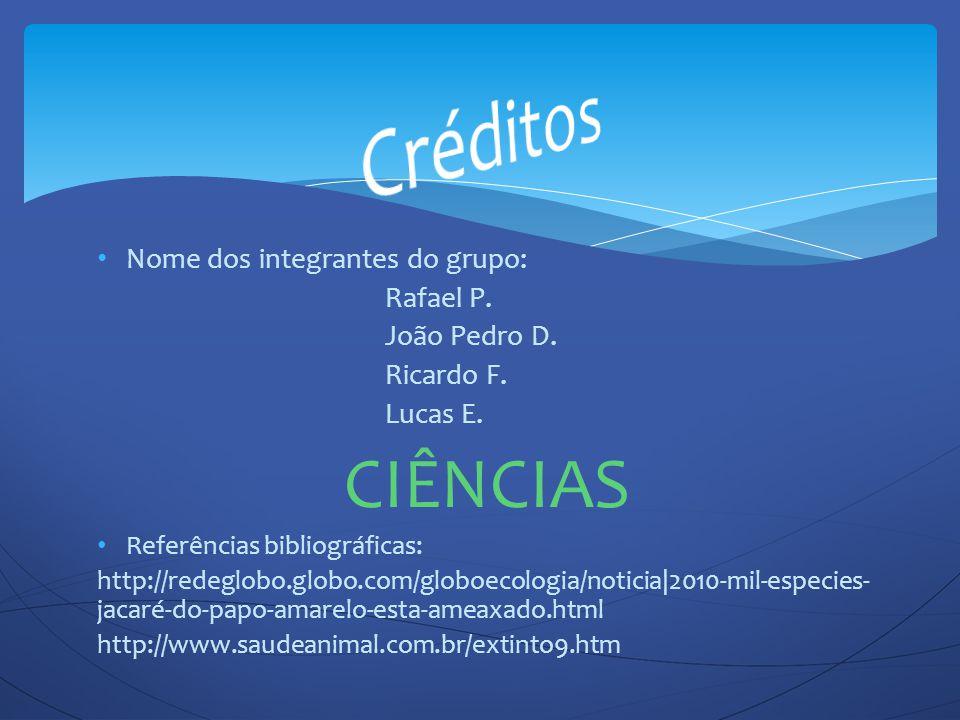 Créditos CIÊNCIAS Nome dos integrantes do grupo: Rafael P.