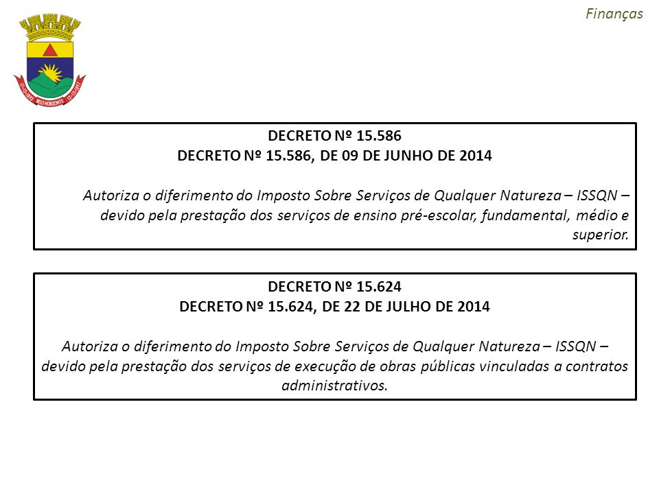 DECRETO Nº 15.586, DE 09 DE JUNHO DE 2014