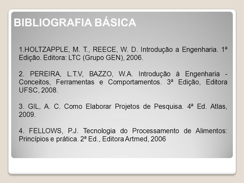 BIBLIOGRAFIA BÁSICA 1.HOLTZAPPLE, M. T., REECE, W. D. Introdução a Engenharia. 1ª Edição. Editora: LTC (Grupo GEN), 2006.