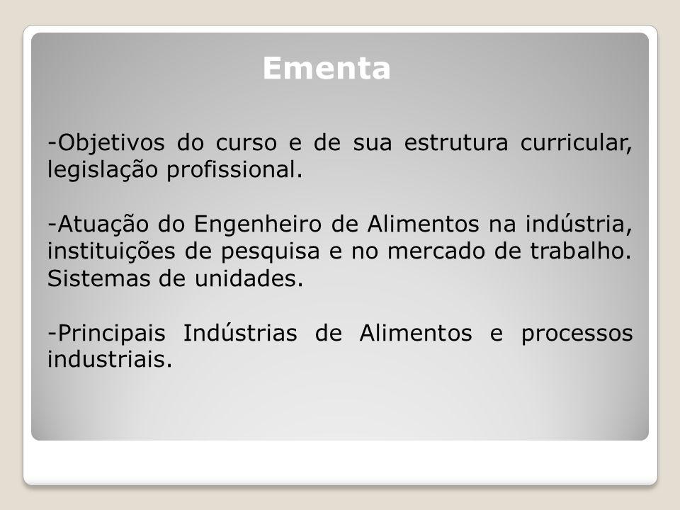 Ementa Objetivos do curso e de sua estrutura curricular, legislação profissional.