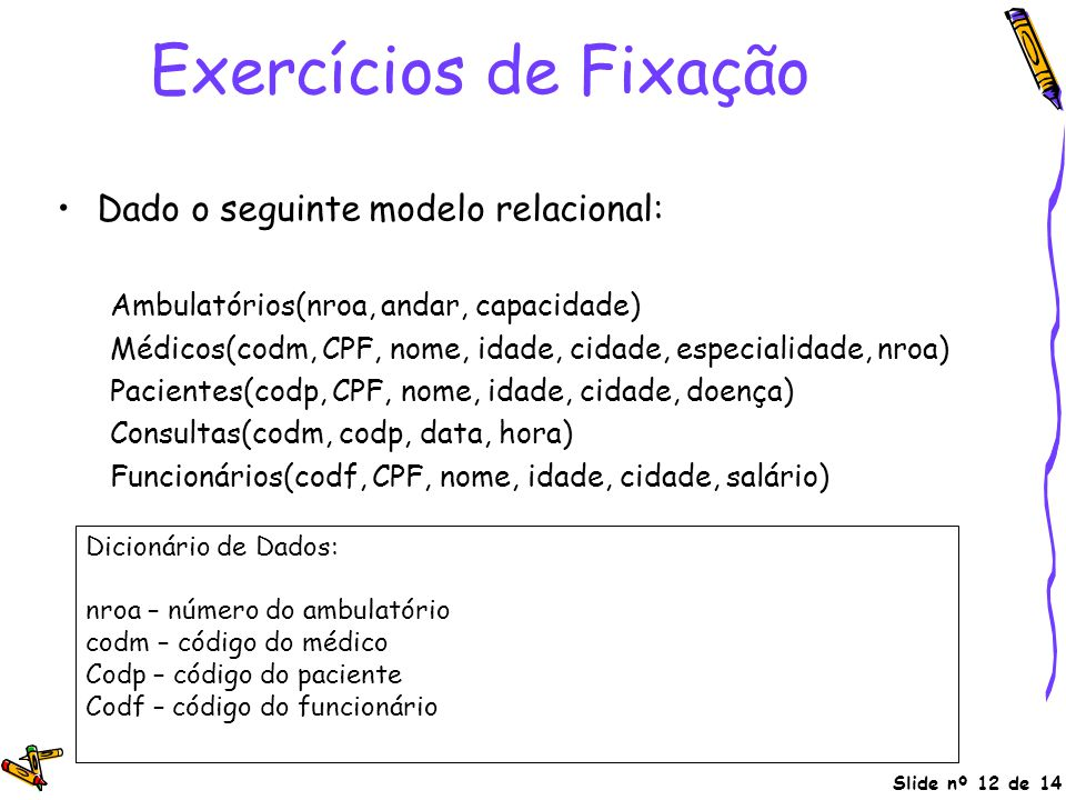 Exercícios de Fixação Dado o seguinte modelo relacional: