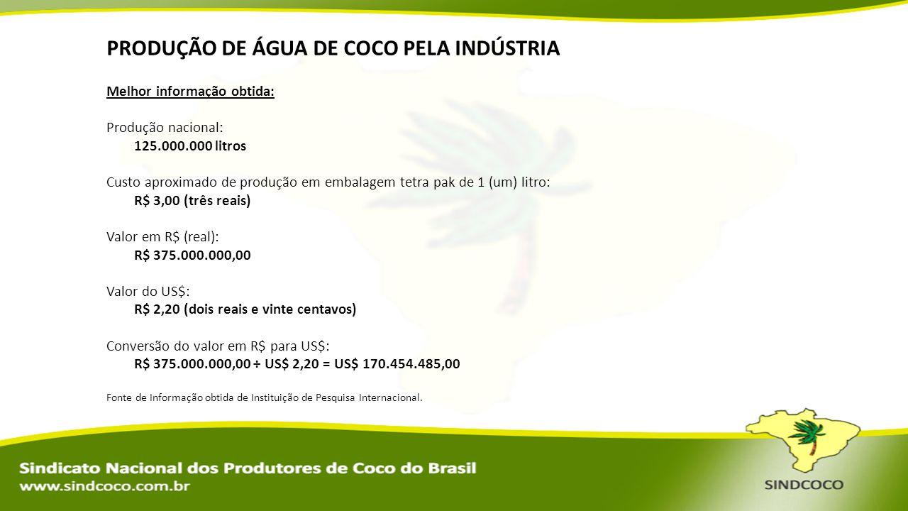 PRODUÇÃO DE ÁGUA DE COCO PELA INDÚSTRIA