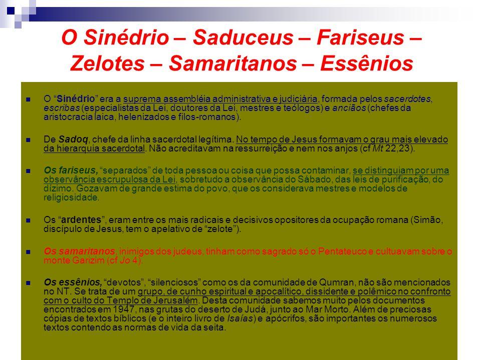O Sinédrio – Saduceus – Fariseus – Zelotes – Samaritanos – Essênios