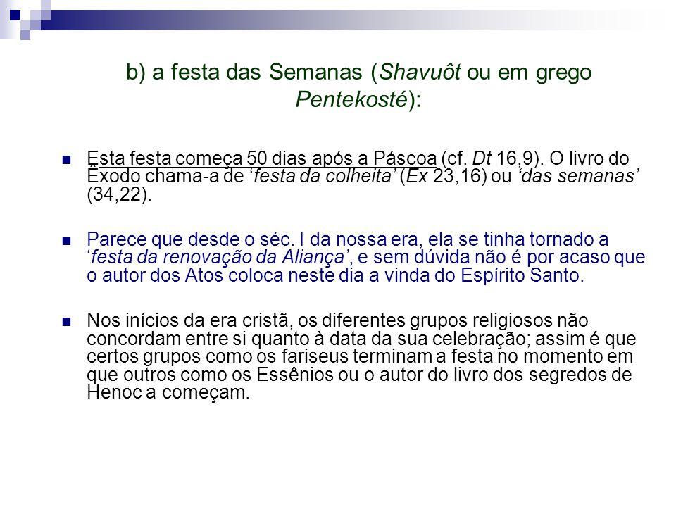 b) a festa das Semanas (Shavuôt ou em grego Pentekosté):
