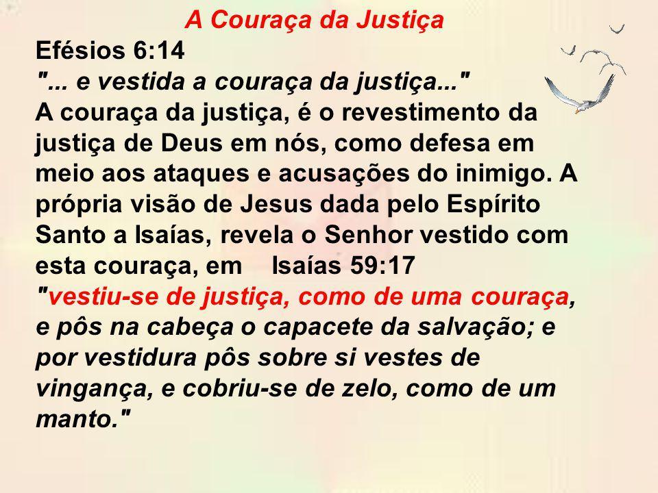 A Couraça da Justiça Efésios 6:14 ... e vestida a couraça da justiça...