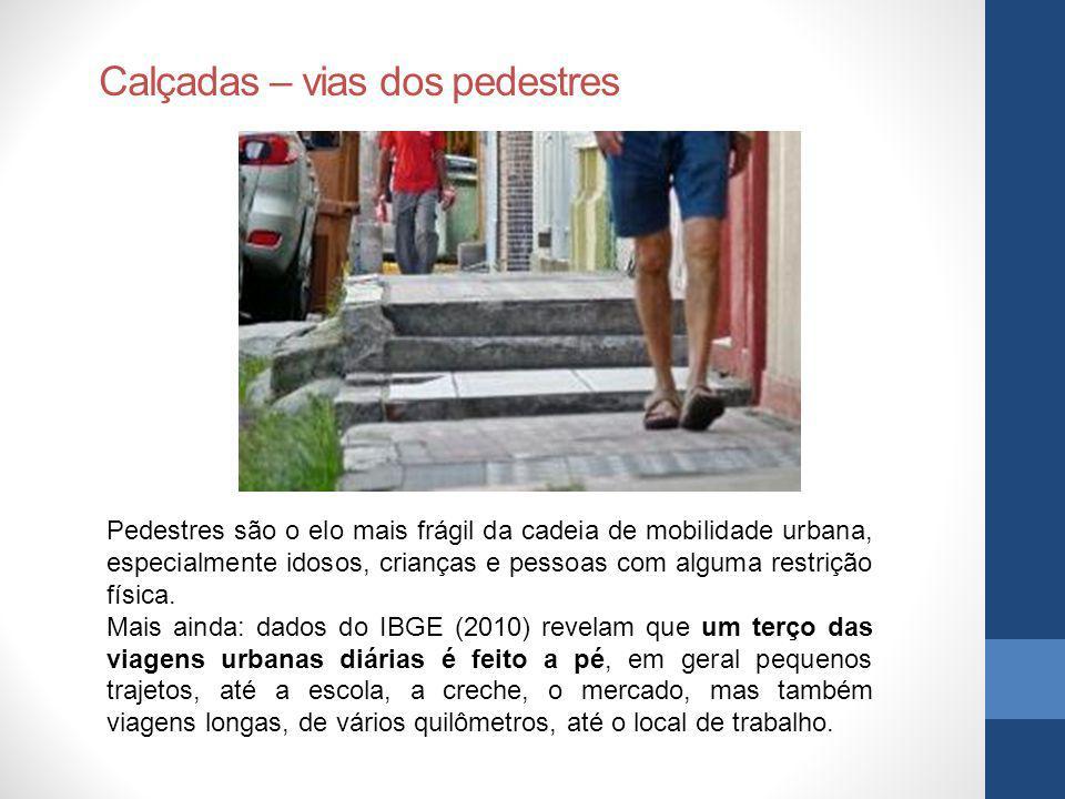 Calçadas – vias dos pedestres
