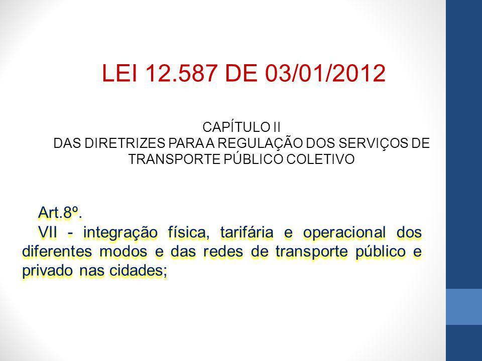 LEI 12.587 DE 03/01/2012 CAPÍTULO II. DAS DIRETRIZES PARA A REGULAÇÃO DOS SERVIÇOS DE TRANSPORTE PÚBLICO COLETIVO.