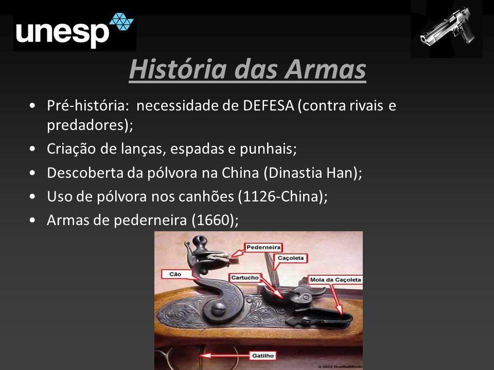 História das Armas Pré-história: necessidade de DEFESA (contra rivais e predadores); Criação de lanças, espadas e punhais;