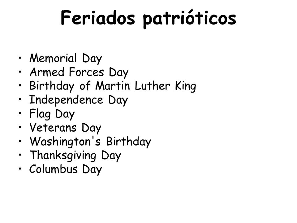 Feriados patrióticos Memorial Day Armed Forces Day