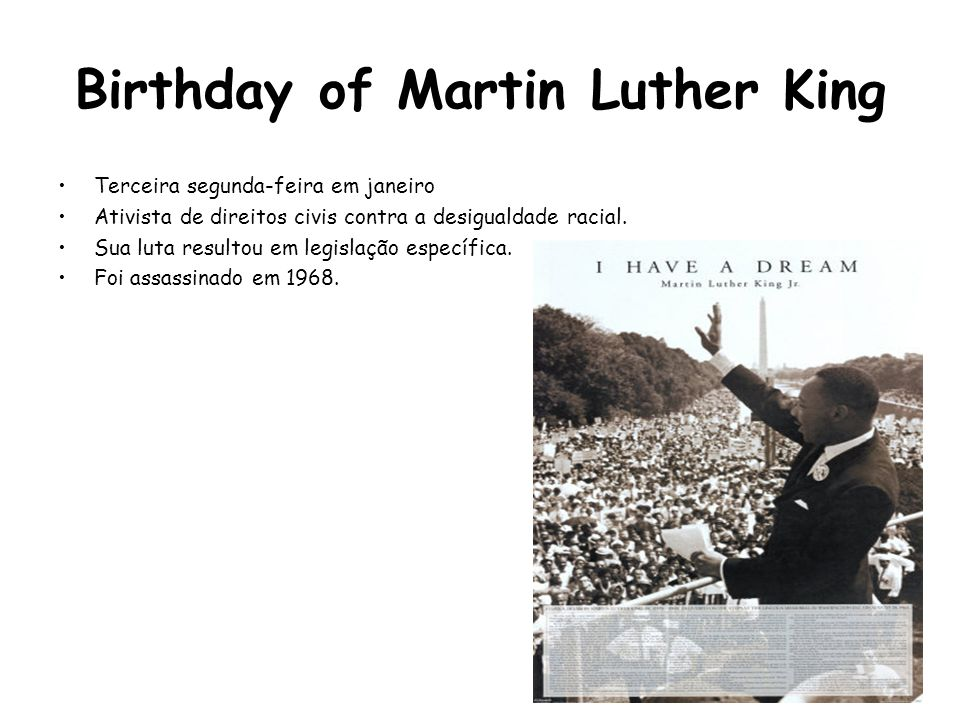 Birthday of Martin Luther King