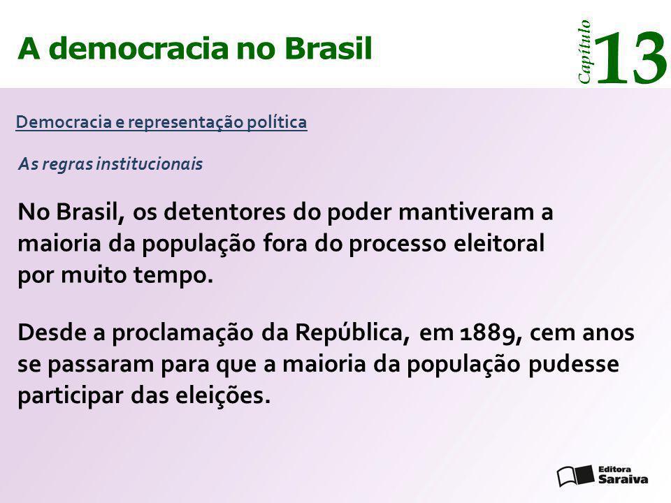 13 A democracia no Brasil. Capítulo. Democracia e representação política. As regras institucionais.