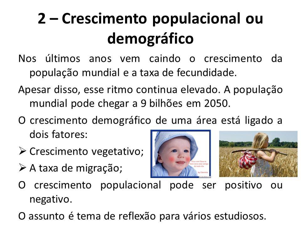 2 – Crescimento populacional ou demográfico