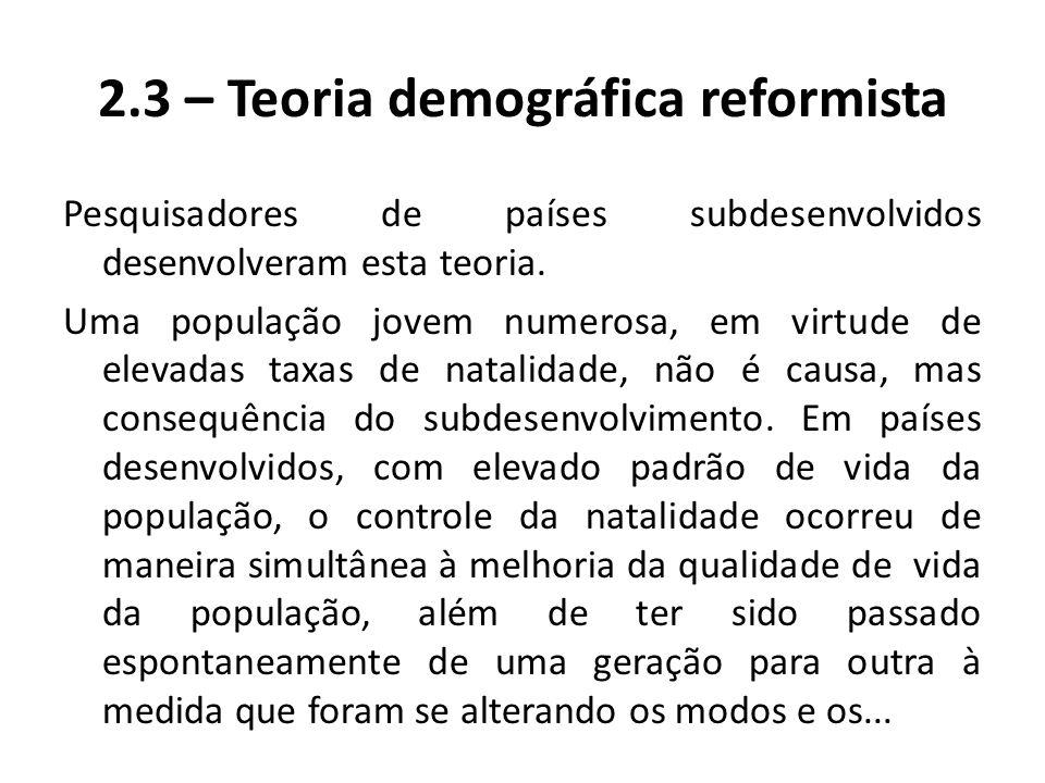 2.3 – Teoria demográfica reformista