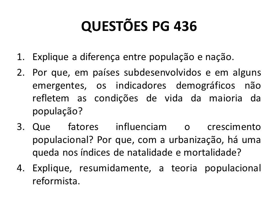 QUESTÕES PG 436 Explique a diferença entre população e nação.