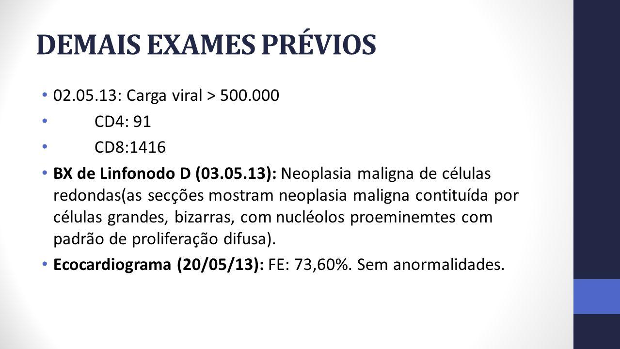 DEMAIS EXAMES PRÉVIOS 02.05.13: Carga viral > 500.000 CD4: 91