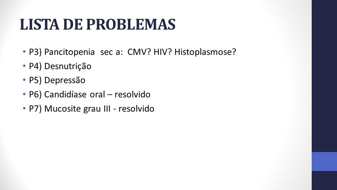 LISTA DE PROBLEMAS P3) Pancitopenia sec a: CMV HIV Histoplasmose