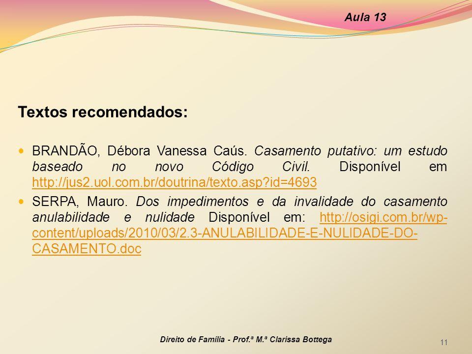 Aula 13 Textos recomendados: