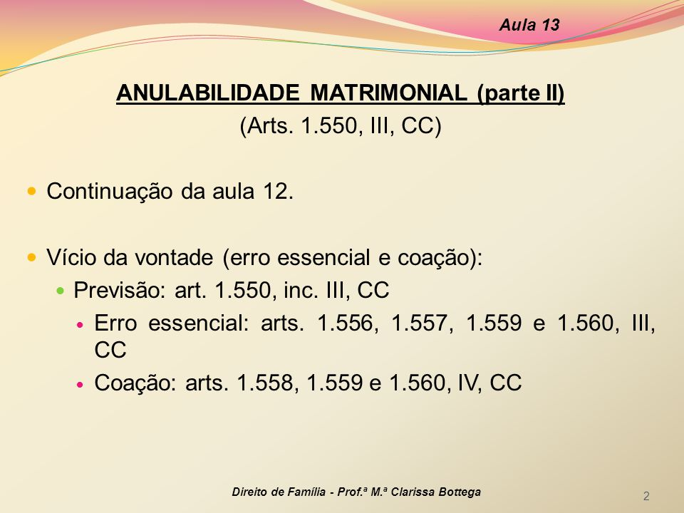 ANULABILIDADE MATRIMONIAL (parte II)