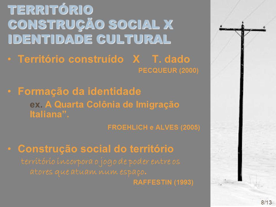 TERRITÓRIO CONSTRUÇÃO SOCIAL X IDENTIDADE CULTURAL