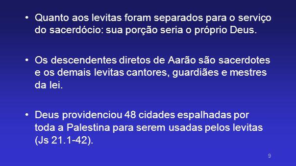 Quanto aos levitas foram separados para o serviço do sacerdócio: sua porção seria o próprio Deus.