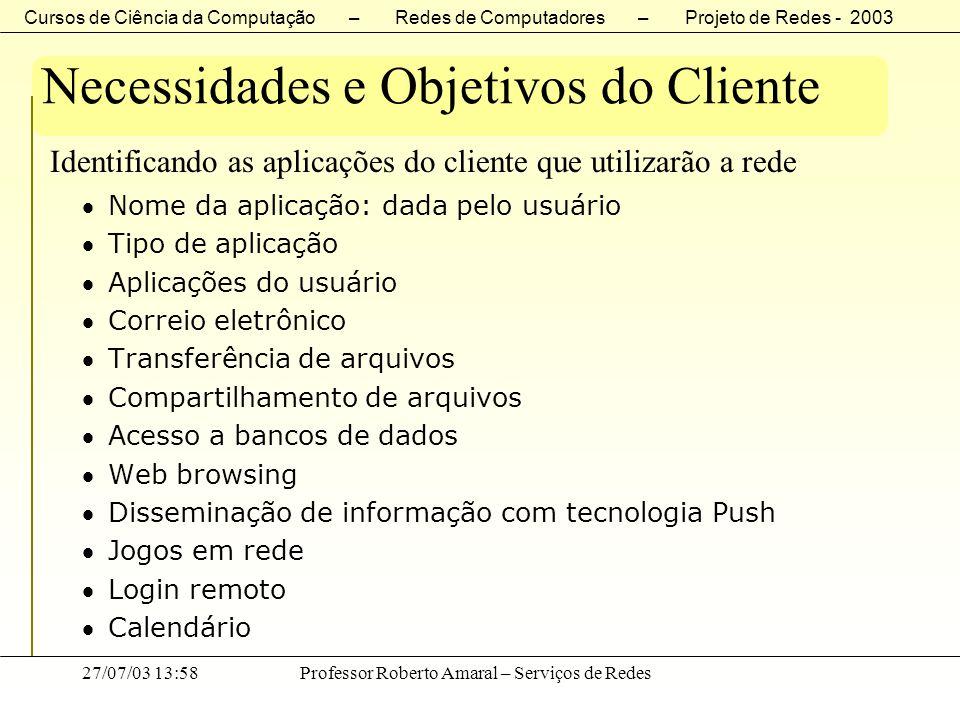 Necessidades e Objetivos do Cliente