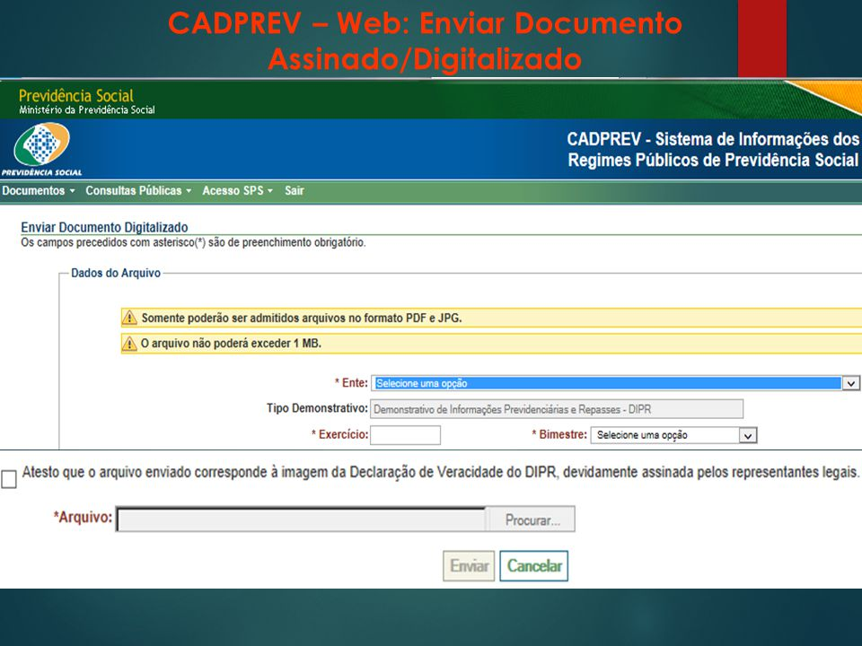 CADPREV – Web: Enviar Documento Assinado/Digitalizado