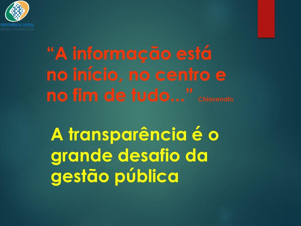 A informação está no início, no centro e no fim de tudo... Chiavenato
