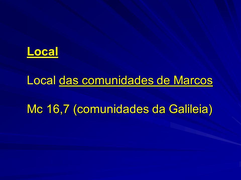Local das comunidades de Marcos Mc 16,7 (comunidades da Galileia)
