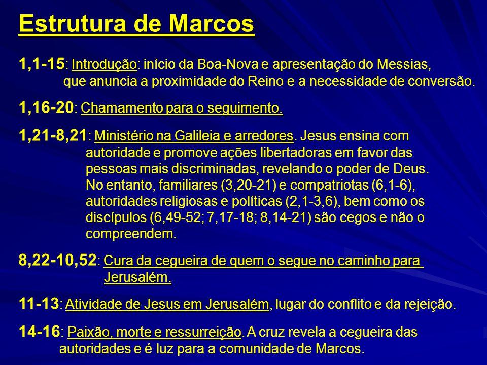 Estrutura de Marcos 1,1-15: Introdução: início da Boa-Nova e apresentação do Messias,