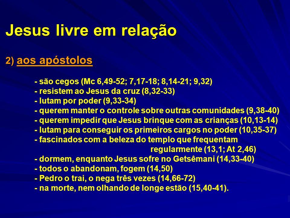 Jesus livre em relação 2) aos apóstolos