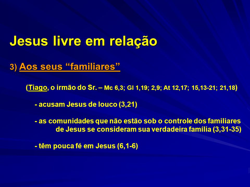 Jesus livre em relação 3) Aos seus familiares