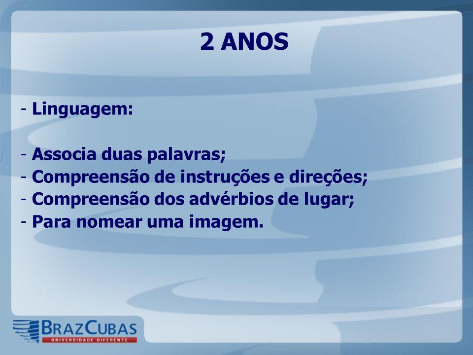 2 ANOS Linguagem: Associa duas palavras;
