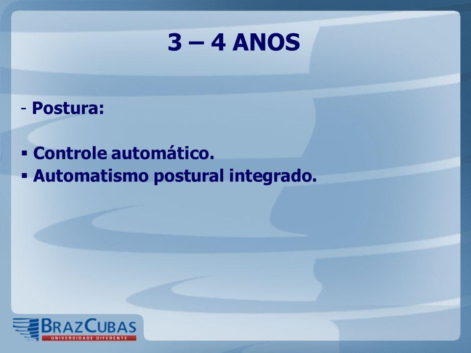 3 – 4 ANOS Postura: Controle automático.