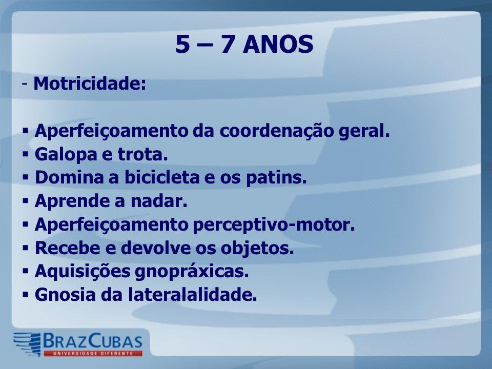 5 – 7 ANOS Motricidade: Aperfeiçoamento da coordenação geral.