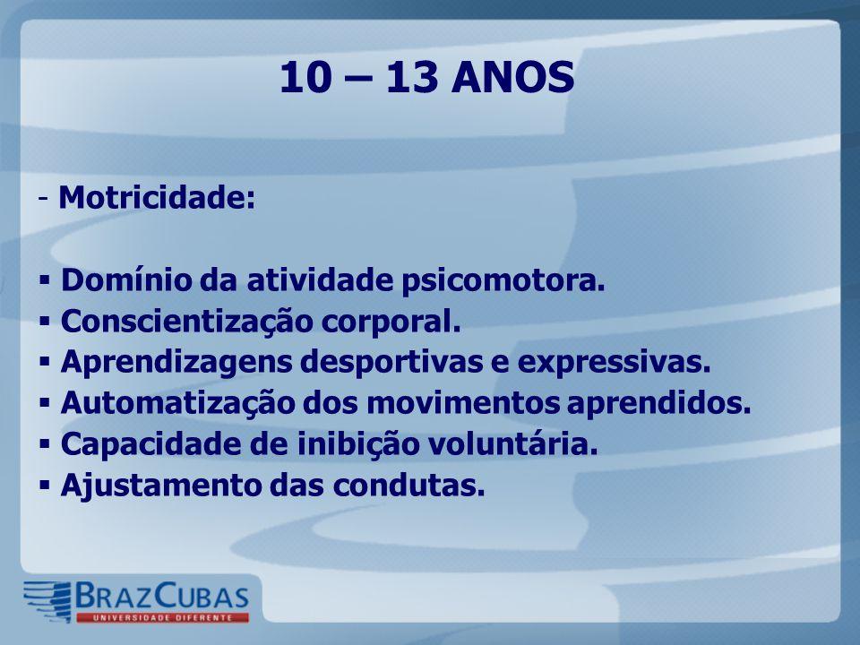 10 – 13 ANOS Motricidade: Domínio da atividade psicomotora.