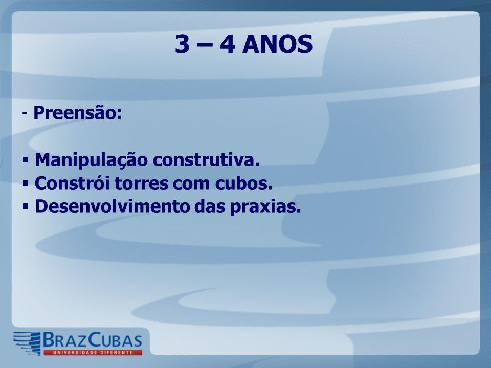 3 – 4 ANOS Preensão: Manipulação construtiva.