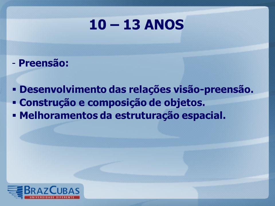 10 – 13 ANOS Preensão: Desenvolvimento das relações visão-preensão.