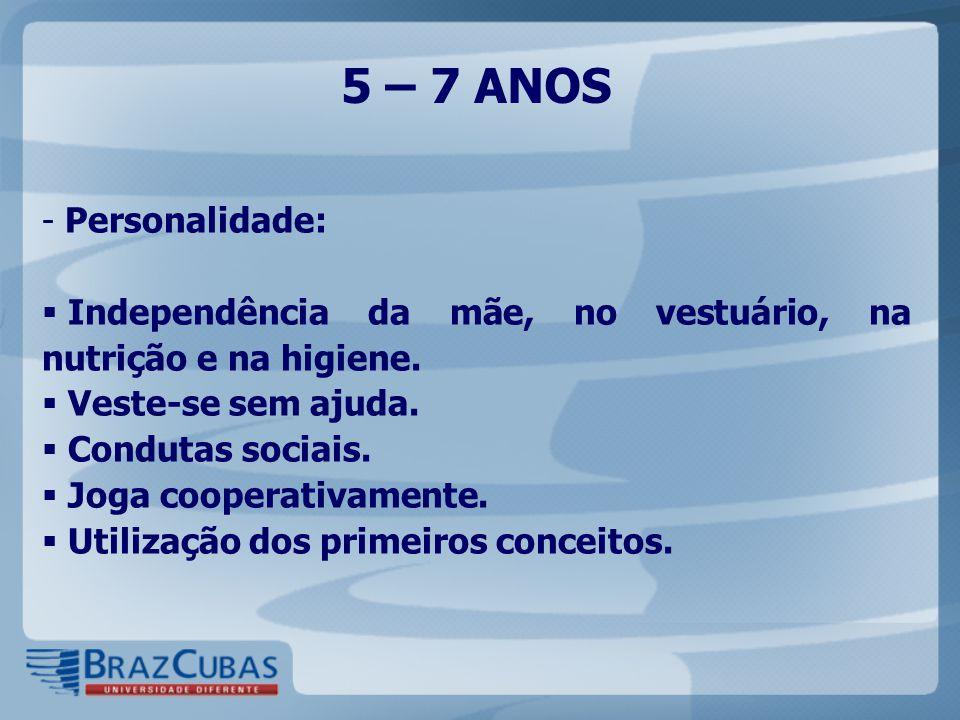 5 – 7 ANOS Personalidade: Independência da mãe, no vestuário, na nutrição e na higiene. Veste-se sem ajuda.