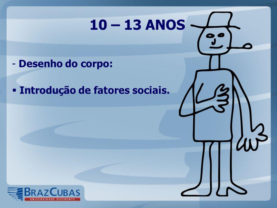 10 – 13 ANOS Desenho do corpo: Introdução de fatores sociais.