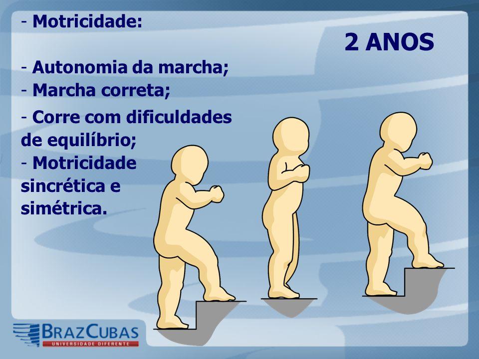 2 ANOS Motricidade: Autonomia da marcha; Marcha correta;