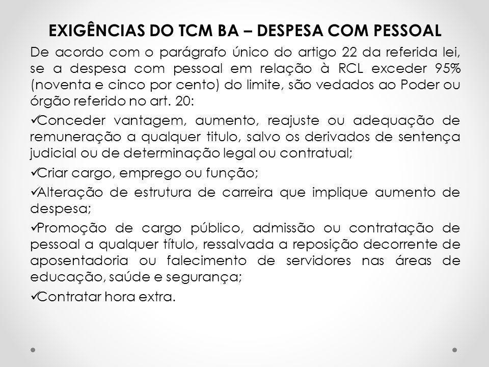EXIGÊNCIAS DO TCM BA – DESPESA COM PESSOAL