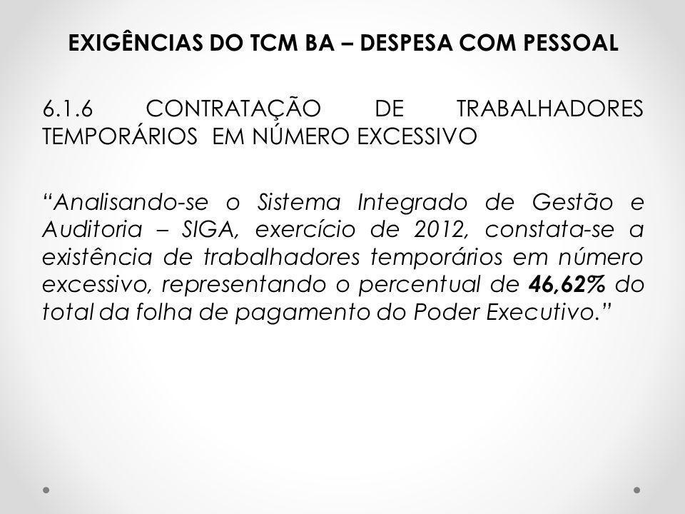 EXIGÊNCIAS DO TCM BA – DESPESA COM PESSOAL 6. 1