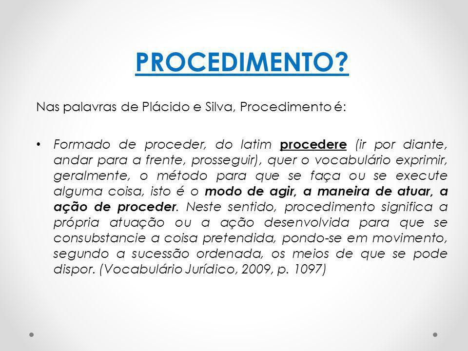 PROCEDIMENTO Nas palavras de Plácido e Silva, Procedimento é: