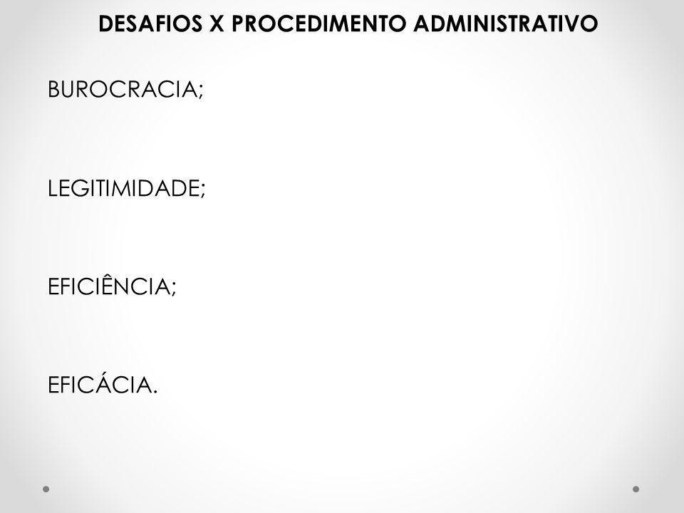 DESAFIOS X PROCEDIMENTO ADMINISTRATIVO BUROCRACIA; LEGITIMIDADE; EFICIÊNCIA; EFICÁCIA.