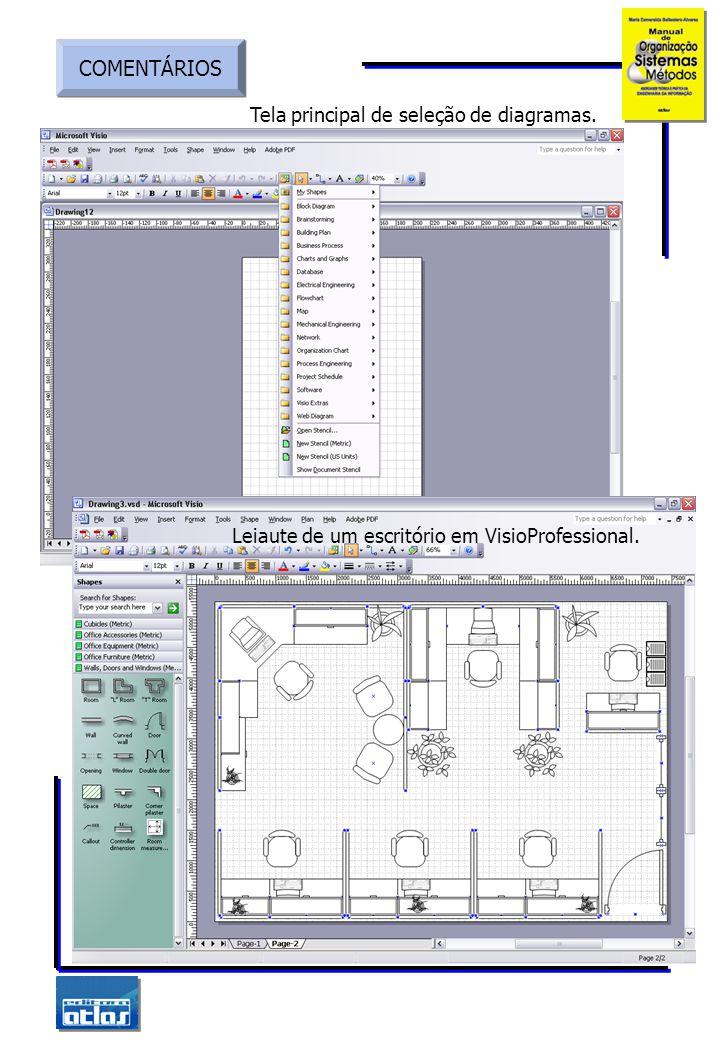 COMENTÁRIOS Tela principal de seleção de diagramas.