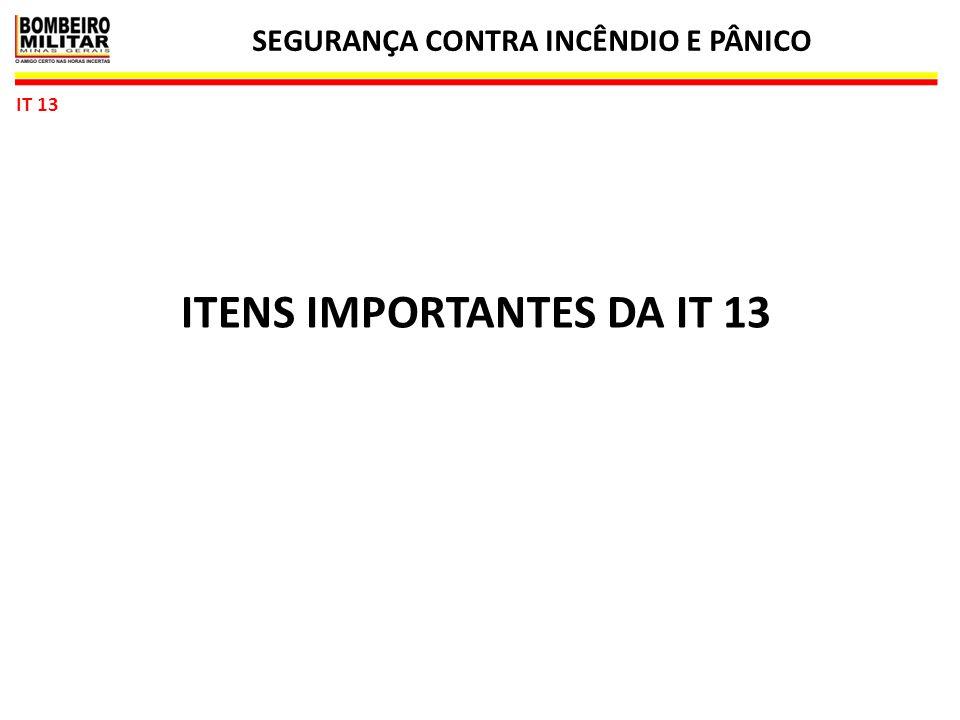 SEGURANÇA CONTRA INCÊNDIO E PÂNICO ITENS IMPORTANTES DA IT 13