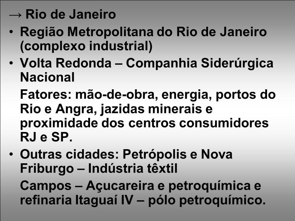 → Rio de Janeiro Região Metropolitana do Rio de Janeiro (complexo industrial) Volta Redonda – Companhia Siderúrgica Nacional.