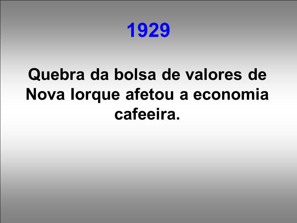 Quebra da bolsa de valores de Nova Iorque afetou a economia cafeeira.